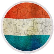 Grunge Luxembourg Flag Round Beach Towel