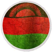 Grunge Malawi Flag Round Beach Towel
