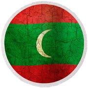 Grunge Maldives Flag Round Beach Towel