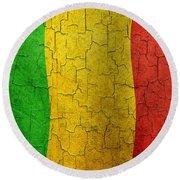 Grunge Mali Flag Round Beach Towel