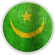 Grunge Mauritania Flag Round Beach Towel