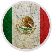Grunge Mexico Flag Round Beach Towel
