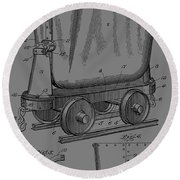 Grunge Mine Trolley Patent Round Beach Towel