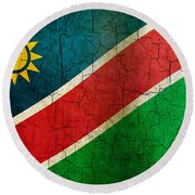 Grunge Namibia Flag Round Beach Towel