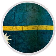 Grunge Nauru Flag Round Beach Towel