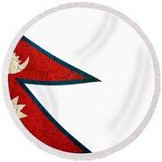 Grunge Nepal Flag Round Beach Towel