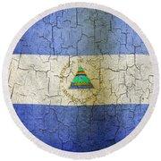 Grunge Nicaragua Flag Round Beach Towel