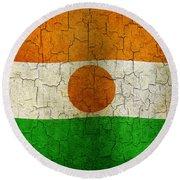 Grunge Niger Flag Round Beach Towel