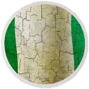 Grunge Nigeria Flag Round Beach Towel