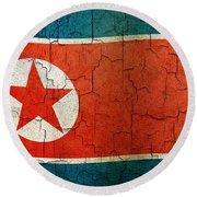 Grunge North Korea Flag Round Beach Towel