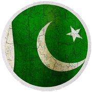 Grunge Pakistan Flag Round Beach Towel