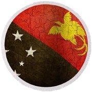Grunge Papua New Guinea Flag Round Beach Towel