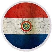 Grunge Paraguay Flag Round Beach Towel