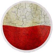 Grunge Poland Flag Round Beach Towel