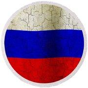 Grunge Russia Flag Round Beach Towel