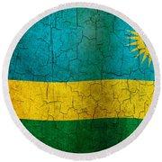 Grunge Rwanda Flag Round Beach Towel
