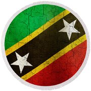 Grunge Saint Kitts And Nevis Flag Round Beach Towel