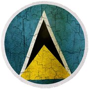 Grunge Saint Lucia Flag Round Beach Towel