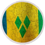 Grunge Saint Vincent And The Grenadines Flag Round Beach Towel