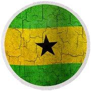 Grunge Sao Tome And Principe Flag Round Beach Towel