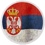 Grunge Serbia Flag Round Beach Towel