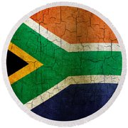 Grunge South Africa Flag Round Beach Towel