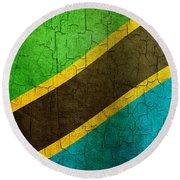 Grunge Tanzania Flag Round Beach Towel