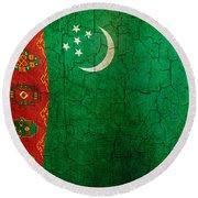 Grunge Turkmenistan Flag Round Beach Towel