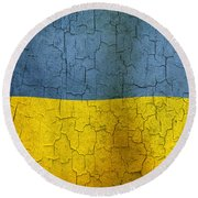 Grunge Ukraine Flag Round Beach Towel