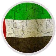 Grunge United Arab Emirates Flag Round Beach Towel