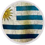 Grunge Uruguay Flag Round Beach Towel
