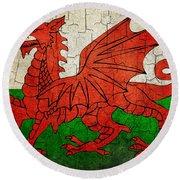 Grunge Wales Flag Round Beach Towel