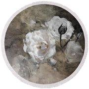 Grunge White Rose Round Beach Towel