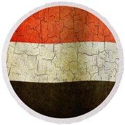 Grunge Yemen Flag Round Beach Towel
