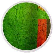 Grunge Zambia Flag Round Beach Towel