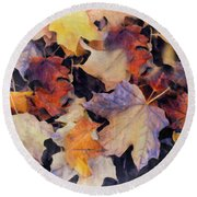 Grungy Autumn Leaves Round Beach Towel