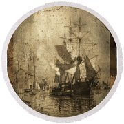 Grungy Historic Seaport Schooner Round Beach Towel by John Stephens