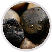 Rocks And Drops Round Beach Towel