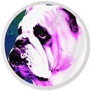 Grunt - Bulldog Pop Art By Sharon Cummings Round Beach Towel