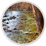 Guadalupe River View Round Beach Towel
