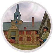 Guard At King's Bastion In Louisbourg Living History Museum-1744 Round Beach Towel