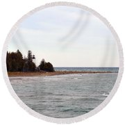 Guard On The Point Round Beach Towel