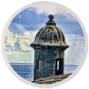 Guard Tower At El Morro Round Beach Towel
