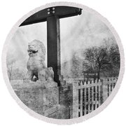 Guardian Of The Gate Round Beach Towel