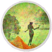 Guardian Of The Oasis Round Beach Towel