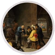 Guardroom With The Deliverance Of Saint Peter Round Beach Towel