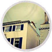 Guernsey Houses Round Beach Towel by Tom Gowanlock
