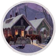 Guest For Dinner Round Beach Towel by Randy Follis