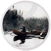 Guides Shooting Rapids Round Beach Towel