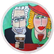 Guinness Man With The Woman Of His Dreams Round Beach Towel